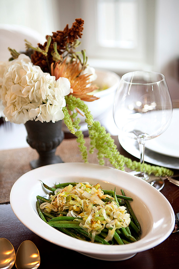 French Green Beans with Carmelized Leeks